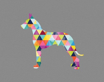 Great Dane Dog Breed Print Poster grey gray geometric Dog Pet Design Bright Colorful Colourful home decor present gift birthday great dane