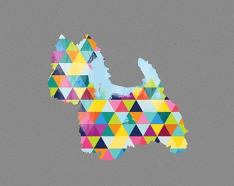 West Highland Terrier Dog Breed Print Poster grey gray geometric Dog Pet Westie Design Bright Colorful Colourful home decor present gift