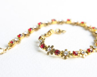 Crimson Red and Clear Crystal Daisy Chain Bracelet 1940s Vintage Swarovski Crystals
