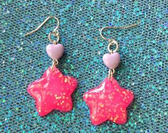 Neon Pink Glitter Star and Pastel Heart Earrings