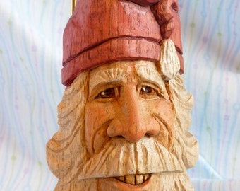 Hand Carved Smiling Santa Claus Decoration in Butternut Wood