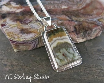 Prudent man plume agate and sterling silver pendant necklace - metalsmith silversmith