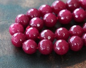 Faceted Jade Beads, Dark Fuchsia, 8mm Round - 15.5 Inch Strand - eJFR-P791-8