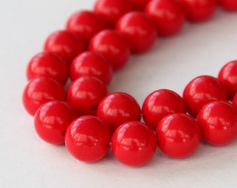 Faux Turquoise Beads, Red, 10mm Round - 15 inch Strand - eGR-IT007-10