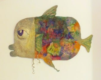 Multicolor  handmade carpet - Home decor - Wall hanging tapestry - Felt wall decor in the form of fish