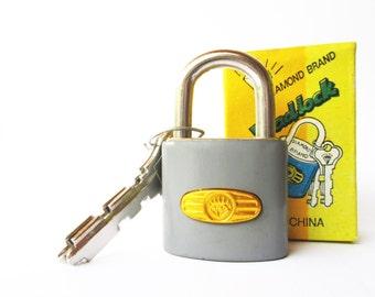 Vintage retro gray padlock miniature lock and key with original box (UNUSED)