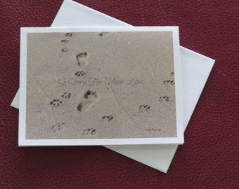 Pet Sympathy Card / Loss of Pet Card / Man Dog Footprints / Beach Footprints / Free US Shipping