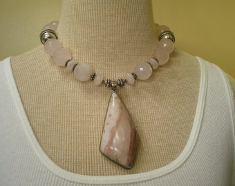 Vintage Massive Sterling Silver Rose Quartz Rhodochrosite Necklace 18 Inches