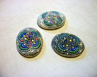 Vintage Mosaic Multi Color Cabochons x 3  # N 12