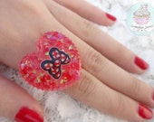 Red Bow heart ring resin