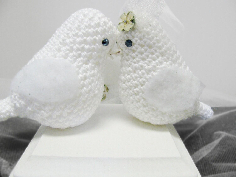 Wedding Bird Cake Topper /Crocheted Love Birds set by ...