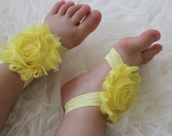 Baby foot wrap - 20 colors to choose -  baby barefoot sandals - Baby girl foot wrap - flower sandals - shoes - barefoot  baby - babybarefoot