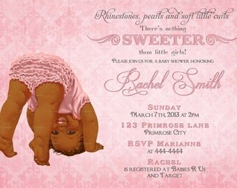 African American Girl Baby Shower Invitation -FREE Thank You Card Printable - Vintage Pink Baby Girl Shower Invite - Rhinestone Pearl