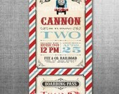 Vintage Train Birthday Invitation or Thomas the Train Invitation PRINTED with Envelopes #142
