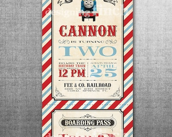 Vintage Train Birthday Invitation or Thomas the Train Invitation PRINTED with Envelopes #142