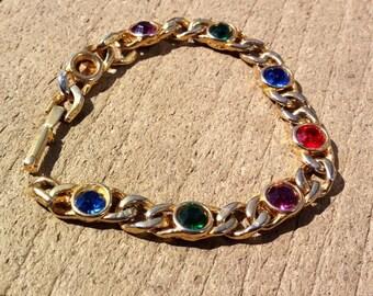 Vintage Gold Bracelet colored rhinestones