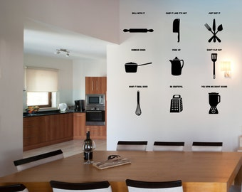 Kitchen Puns - Kitchen Wall Decal Custom Vinyl Art Stickers for Homes, Kitchen, Remodelers, & Interior Designers