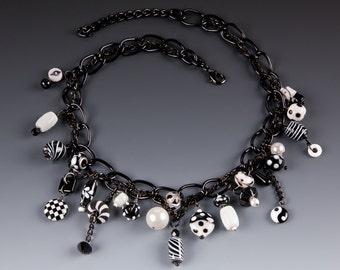 Crazy Black & White Charm Necklace