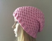 Hand knitted pink hat, honeycomb pattern