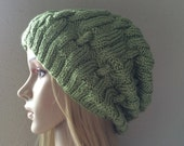 Hand knitted hat, chain link pattern