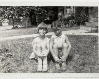 Old Photo Girl and Boy sitting on Front Lawn 1930s Photograph vintage