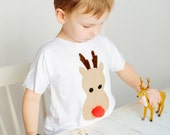 kids t-shirt, kids funny tshirt, kids tee, appliqued shirt, reindeer shirt kids, white shirt, animal shirt, kids clothes, reindeer, gift