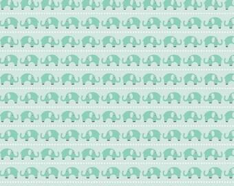 Fat Quarter Oh Boy Elephants Aqua Quilting Fabric Riley Blake C3301