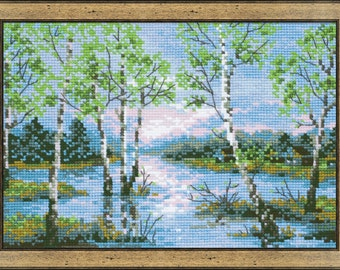 Spring Floods Silver Birch Trees 14 Count Cross Stitch Kit By Riolis 21cm x 15cm