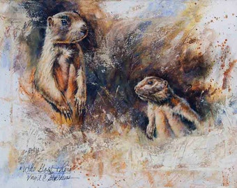 Who Goes There?, giclee print from the original oil painting, of two Prairie Dogs popping their heads out of the ground, wildlife art