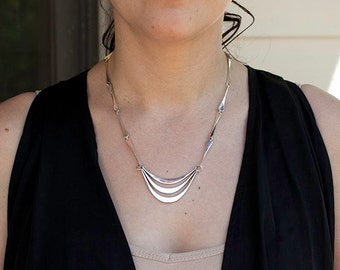Hand forged sterling silver necklace, #340.
