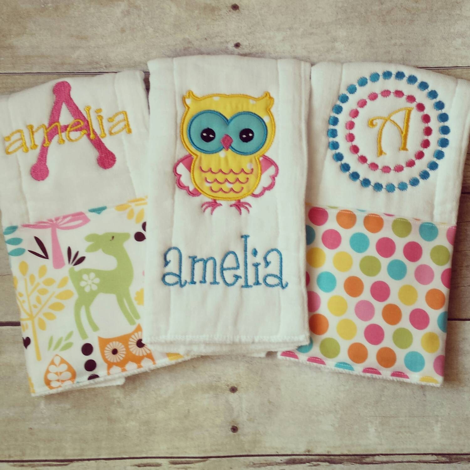 Personalized baby girl burp cloths owls