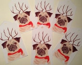Reindeer Pug Christmas Tags - Set of 6 Funny Pug Christmas Gift Tags