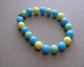 JEWELRY SALE- Girls Bracelet- Beaded Children's Jewelry- Yellow, Green, Blue