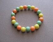 JEWELRY SALE- Girls Bracelet- Beaded Children's Jewelry- Green, Orange, Yellow