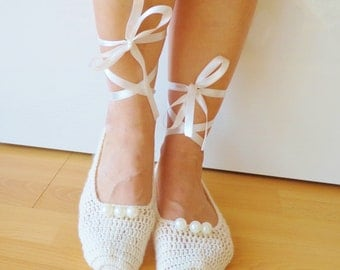 Bridal Wedding Dance Shoes Slippers , Bridal Party Bridesmaid,Crochet,Pearl,Ballerina.