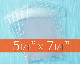 "300 5 1/4 x 7 1/4 Inch Resealable Cello Bags for 5x7 Photos, Tape on Flap, Acid Free (5.25"" x 7.25"")"