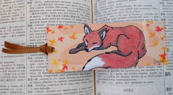 Bookmark sleeping cute red fox - woodland illustration - forest animal artwork - furry drawing