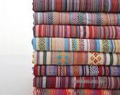 Colorful Stripe Cotton Fabric Knit Fabric BOHO Bohemian Style Bag Chair Cushion Fabric-  1/2 Yard