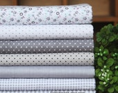 Grey Gray Bundle Fabric/ Grey Fabric/ Gray Cotton Fabric Bundle For Clothing Quilting - Sets for 7 each 45cmX45cm