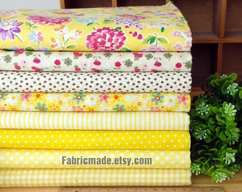 Yellow Bundle Fabric/ Yello Fabric/ Yellow Cotton Fabric Bundle For Clothing Quilting - Sets for 8 each 45cmX45cm