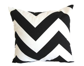 Black chevron pillow cover One cushion cover black and white zig zag throw pillow covers black modern decor