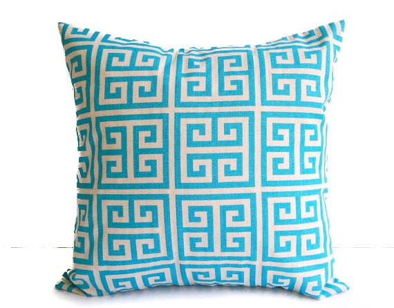 Decorative throw pillow cover aqua turquoise and natural Greek Key print pillow sham cushion cover home decor