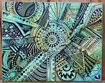 """Watercolor Zentangle Acrylic Abstract Painting: 16"""" by 20"""" Turquoise, Gold, Green, Black"""
