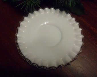 "Fenton White Milk Glass SliverCrest Saucer, Fenton SilverCrest Saucer   6"" Diameter"