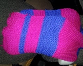 Long, striped pink and blue scarf