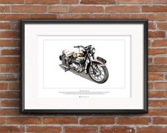 Ariel Square Four Mkll Motorbike - ART POSTER A2 size