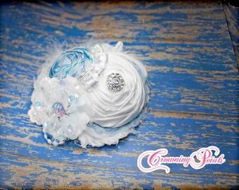 Ice Blue Headband, Queen Elsa Hair Piece, Frozen Hair Accessory, Light Blue, White Hair Bow, Icy Sparkle, Flower Hair Clip, M2M Ooh La La