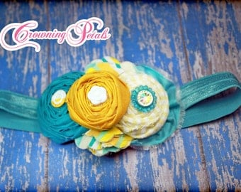 Yellow, Teal, Aqua Headband, Hair Accessories, Flower Hair Accessory, Baby Girl Hair Bow, Turquoise Hair Clip, Fabric Flower Brooch