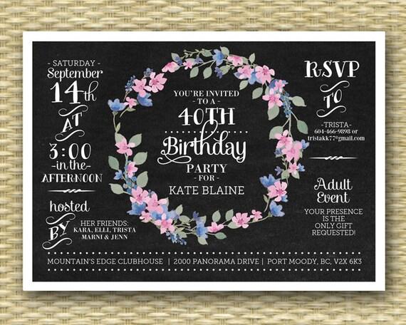 Chalkboard birthday invitation 40th birthday invite floral wreath il570xn filmwisefo Image collections