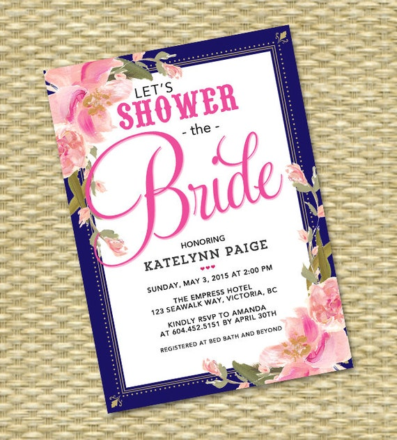 Navy Pink Bridal Shower Invitation Pink Navy Wedding Shower Couples